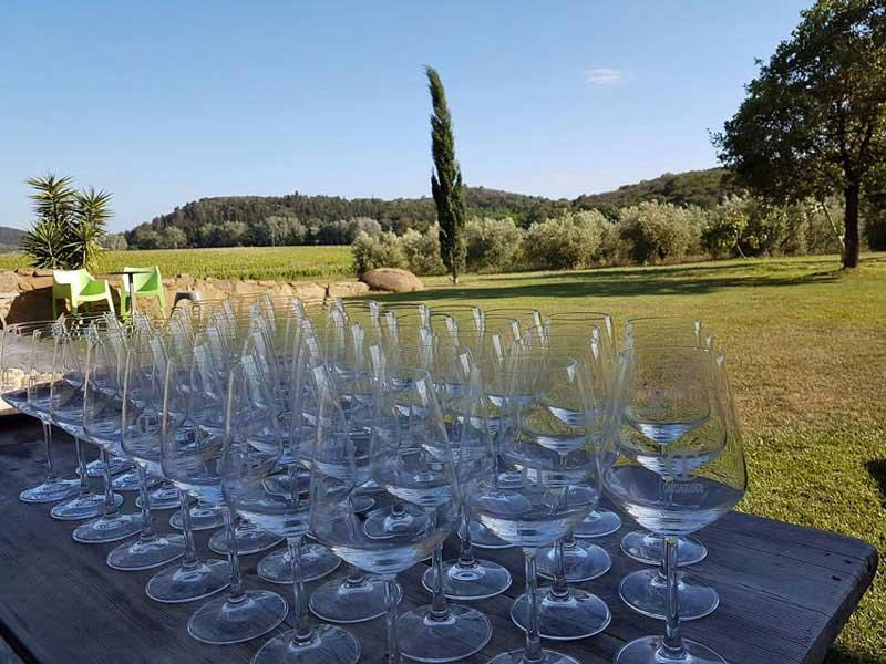 Fotografia di tavolo apparecchiato con calici per vino in maremma